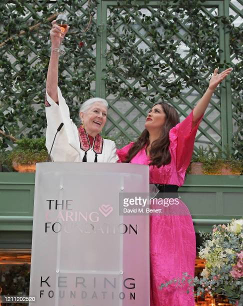 Vanessa Redgrave and Salma Hayek Pinault attend International Women's Day for The Caring Foundation with Salma Hayek at Annabel's on March 08, 2020...