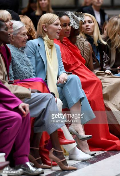 Vanessa Redgrave Cate Blanchett Zawe Ashton Billy Porter and Sabine Getty sit front row for the Roksanda Show during London Fashion Week February...