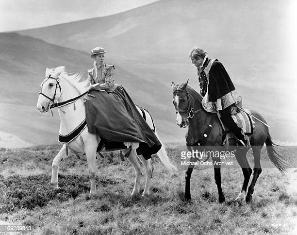Vanessa Redgrave is over taken on the Scottish moors by Timothy Dalton in a scene from the film 'Mary, Queen Of Scots', 1971.