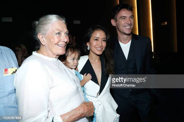 Vanessa Redgrave, Jonathan Rhys-Meyers, his wife Mara Lane and their son Wolf pose after 'The Aspern' photocall during the 75th Venice Film Festival...