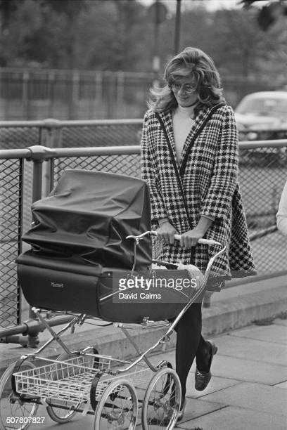 Vanessa Redgrave pushing her son Carlo Gabriel Nero in a pram, 30th September 1969.