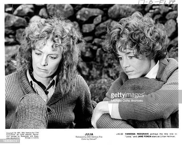 Vanessa Redgrave sits with Jane Fonda in a scene from the film 'Julia' 1977