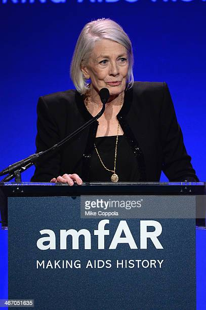 Vanessa Redgrave speaks onstage during the 2014 amfAR New York Gala at Cipriani Wall Street on February 5, 2014 in New York City.
