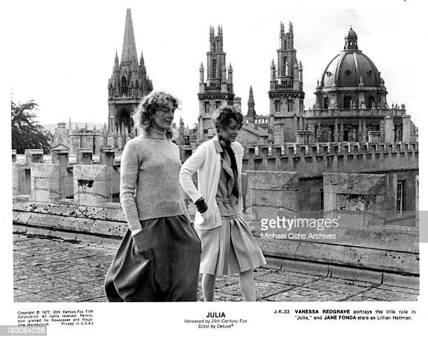 Vanessa Redgrave walks with Jane Fonda in a scene from the film 'Julia' 1977