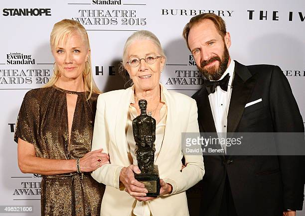 Vanessa Redgrave winner of the Editor's Award in partnership with The Ivy poses in front of the Winners Boards with presenters Joely Richardson and...