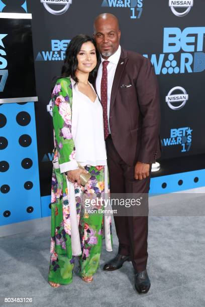 Vanessa Rodriguez Spencer and Chris Spencer arrives at the 2017 BET Awards at Microsoft Theater on June 25 2017 in Los Angeles California