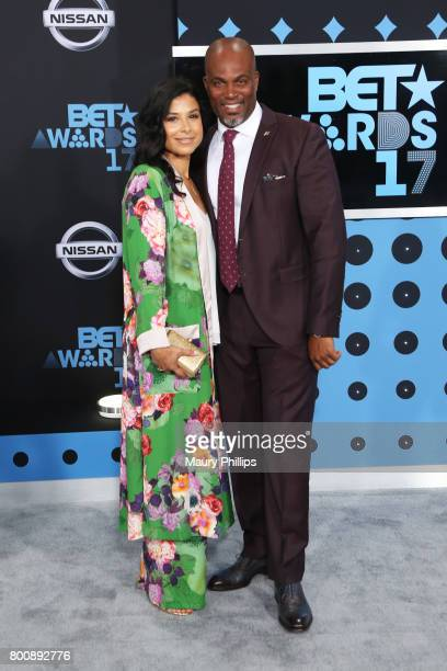 Vanessa Rodriguez Spencer and Chris Spencer at the 2017 BET Awards at Microsoft Square on June 25 2017 in Los Angeles California