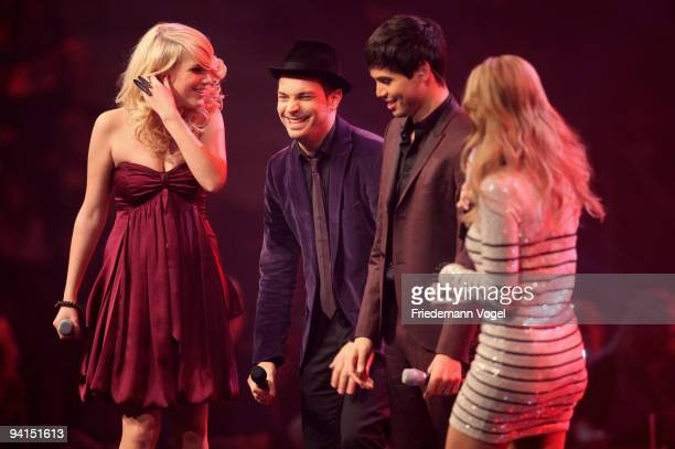 Vanessa, Roger Cicero, Leo and Charlotte Engelhardt on stage during the TV Show 'Popstars You & I' semi final at the Koenigspilsener Arena on...