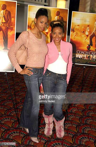 Vanessa Simmons and Angela Simmons during Coach Carter New York City Premiere at Loews Theater 68th Street in New York City New York United States