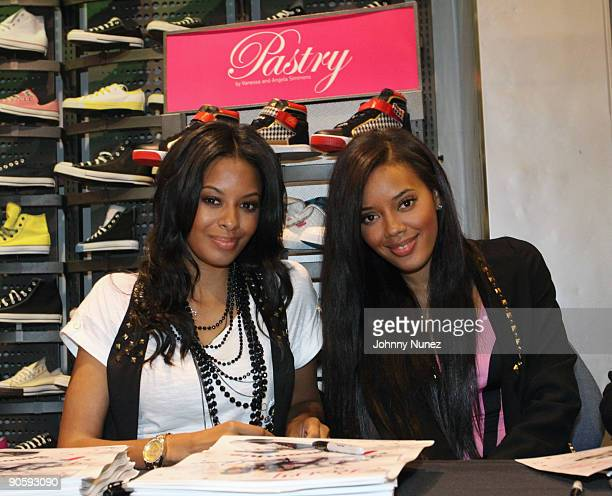 Vanessa Simmons and Angela Simmons promote the new shoe The Smoothie at Foot Locker Times Square on September 10 2009 in New York City