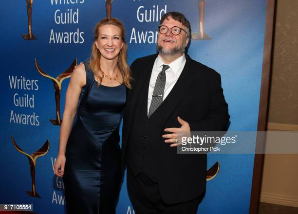 Vanessa Taylor and Guillermo del Toro attend the 2018 Writers Guild Awards LA Ceremony at The Beverly Hilton Hotel on February 11 2018 in Beverly...