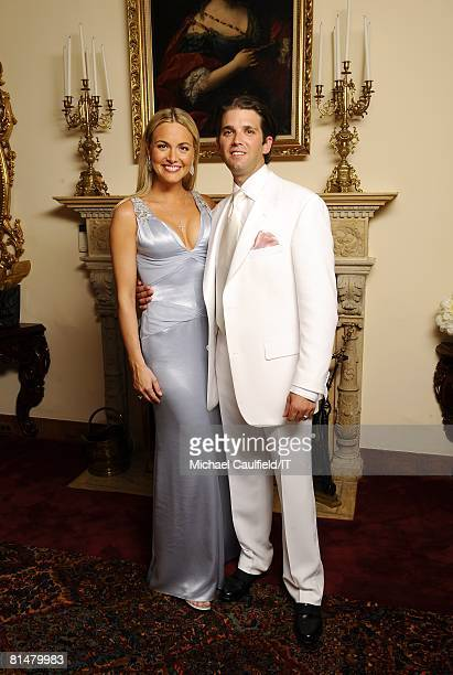 RATES Vanessa Trump and Donald Trump Jr pose during the wedding of Ivana Trump and Rossano Rubicondi at the MaraLago Club on April 12 2008 in Palm...