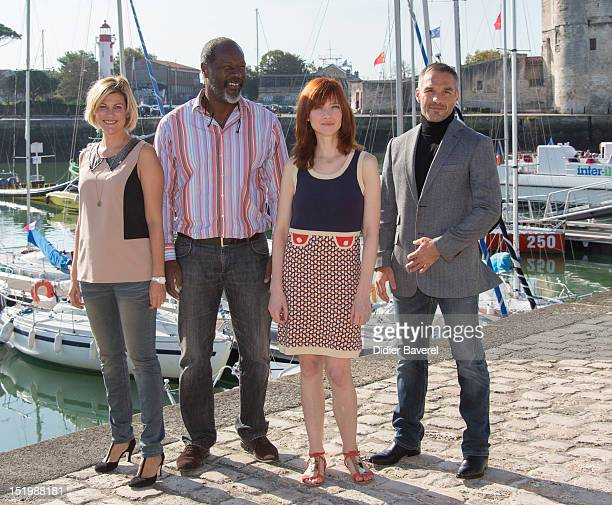 Vanessa Valente Jean Michel Martial Odile Vuillemin and Philippe Bas pose during the 'Profilage' Photocall at La Rochelle Fiction Television Festival...