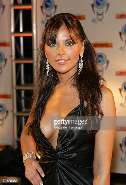 Vanessa Villela poses at the 4th Annual Premios Fox Sports Awards held at the Jackie Gleason Theater for the Performing Arts on December 14 2006 in...