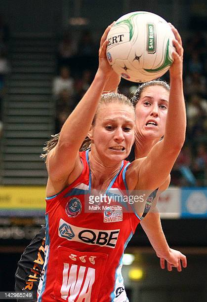 Vanessa Ware of the Swifts catches the ball during the round three ANZ Championship match between the Swifts and the Magic at Sydney Olympic Park...