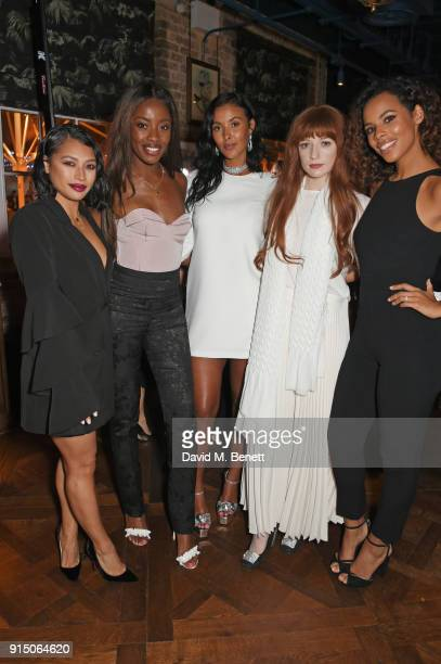 Vanessa White AJ Odudu Maya Jama Nicola Roberts and Rochelle Humes attend the InStyle EE Rising Star Party at Granary Square on February 6 2018 in...