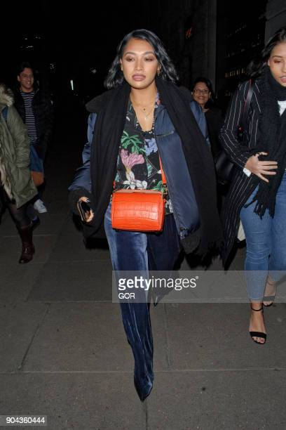 Vanessa White and her mother at Roka restaurant Aldwych celebrating her mother's birthday on January 12 2018 in London England