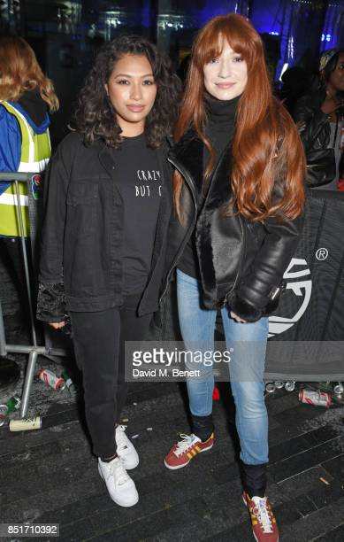 Vanessa White and Nicola Roberts attend the launch of the Timberland Flyroam sneaker at The Scoop on September 22 2017 in London England