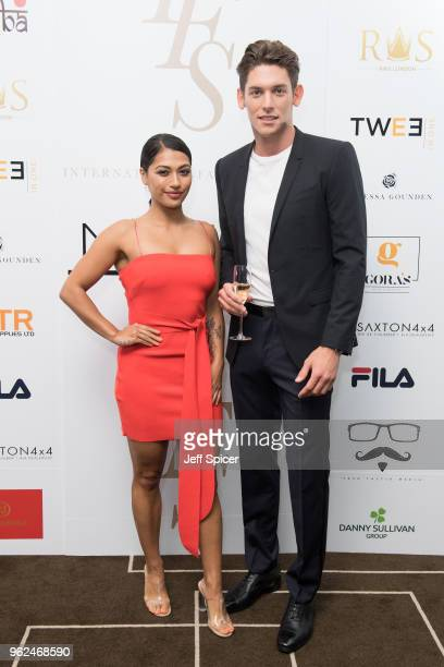 Vanessa White and Wes Myron attend the inaugural International Fashion Show at Rosewood Hotel on May 25 2018 in London England