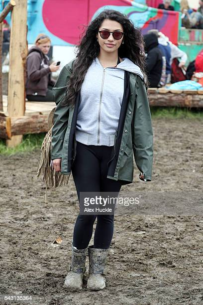 Vanessa White attends the Glastonbury Festival at Worthy Farm Pilton on June 26 2016 in Glastonbury England