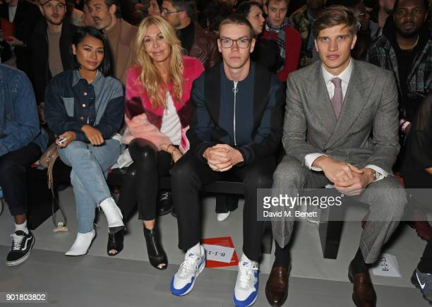 Vanessa White Melissa Odabash Will Poulter and Toby HuntingtonWhiteley attend the What We Wear show during London Fashion Week Men's January 2018 at...