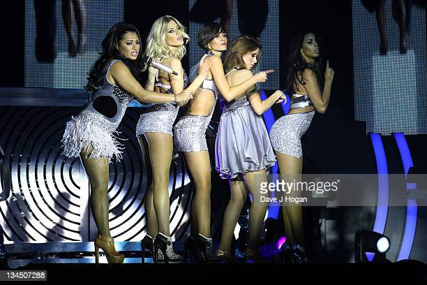 Vanessa White Mollie King Frankie Sandford Una Healy and Rochelle Wiseman of The Saturdays performs for a dress rehearsal before the first night of...