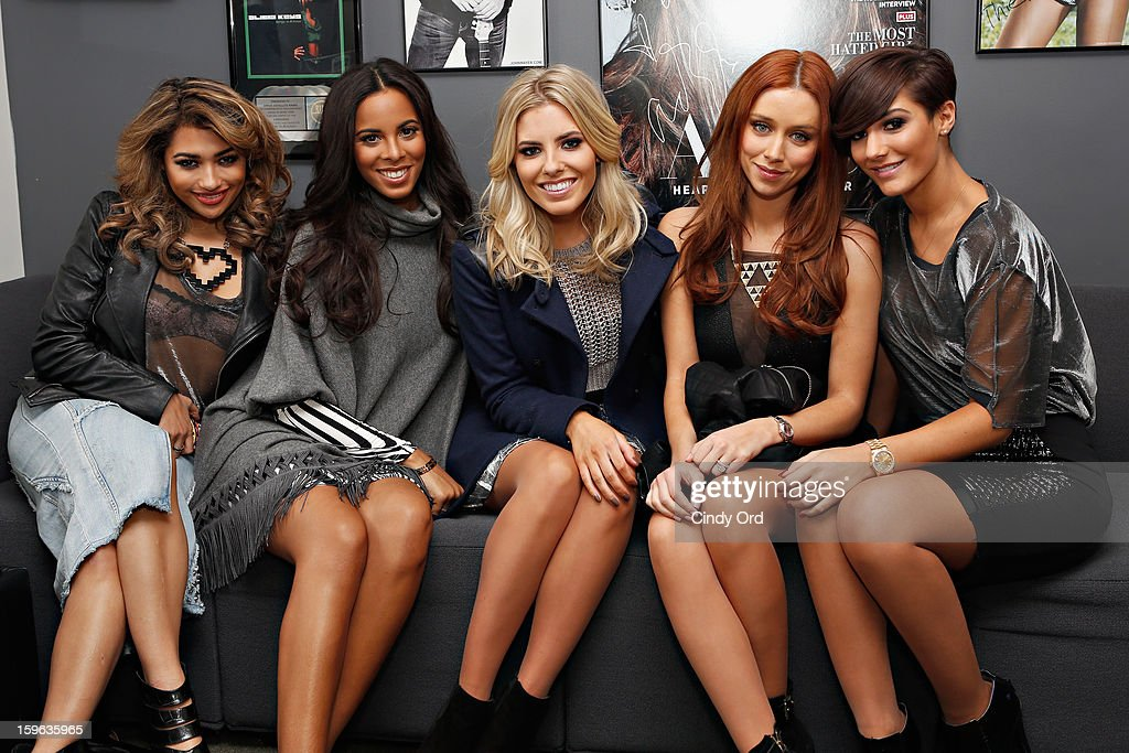 Vanessa White, Rochelle Humes, Mollie King, Una Healy and Frankie Sandford of The Saturdays pose in the green room at the SiriusXM Studios on January 17, 2013 in New York City.