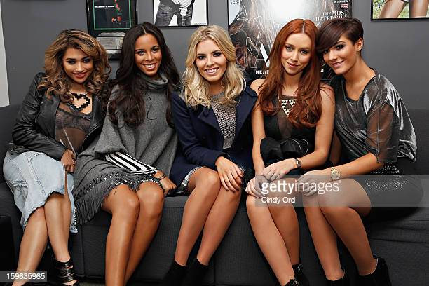 Vanessa White Rochelle Humes Mollie King Una Healy and Frankie Sandford of The Saturdays pose in the green room at the SiriusXM Studios on January 17...