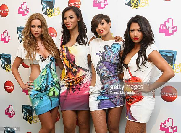 Vanessa White Una Healy Rochelle Wiseman and Frankie Sandford of The Saturdays attend T4 on the Beach on July 4 2010 in WestonSuperMare England
