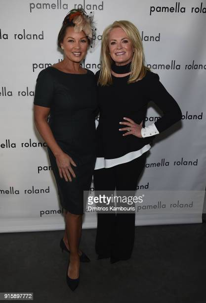 Vanessa Williams and designer Pamela Roland pose backstage during the Pamela Roland New York Fashion Show at Pier 59 on February 8 2018 in New York...