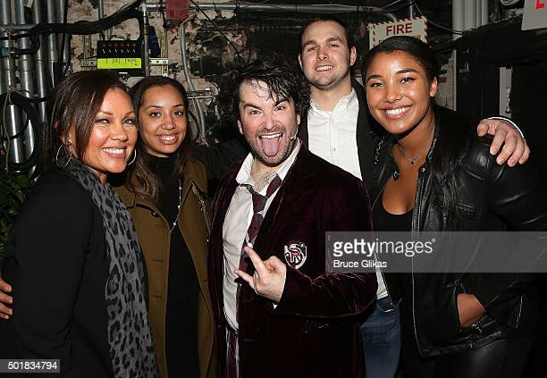 Vanessa Williams and family pose with Alex Brightman backstage at the hit musical School of Rock on Broadway at The Winter Grden Theater on December...