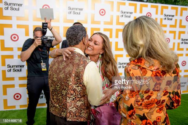 """Vanessa Williams greets Billy Davis, Marilyn McCoo as they attend Questlove's """"Summer Of Soul"""" screening & live concert at Marcus Garvey Park in..."""