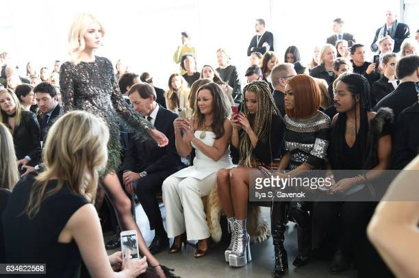 Vanessa Williams Jillian Hervey and Teyana Taylor attend the Pamella Roland fashion show during New York Fashion Week at Pier 59 Studios on February...