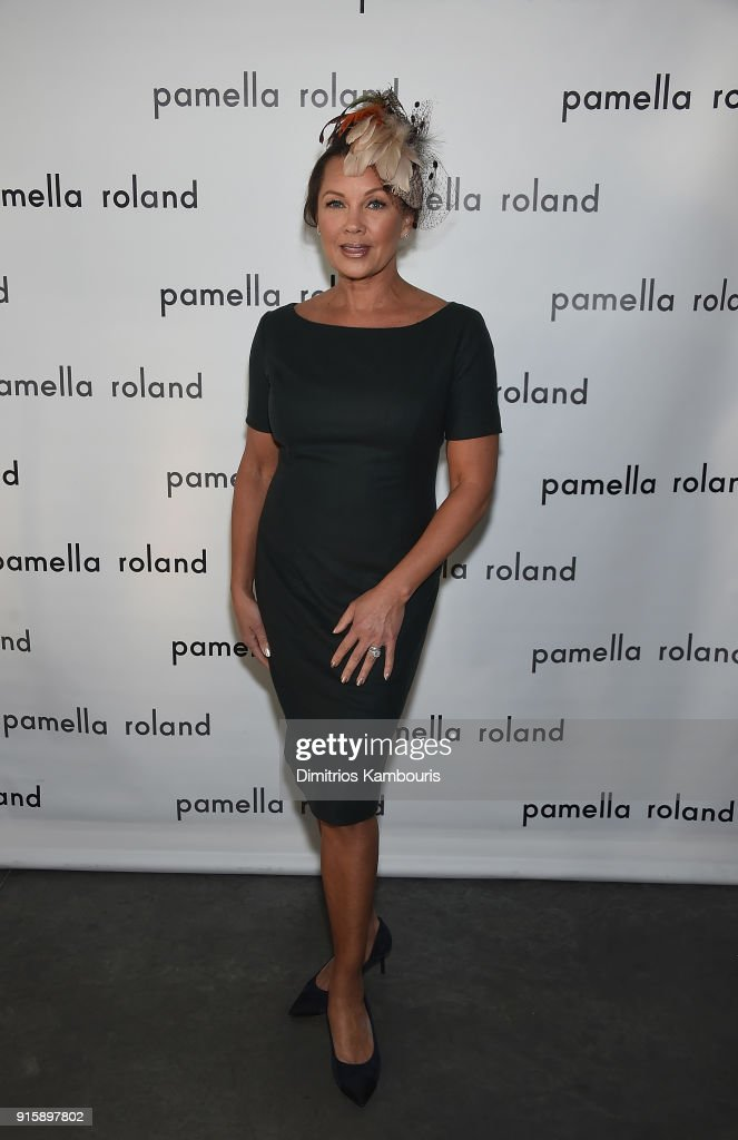 Vanessa Williams poses backstage during the Pamela Roland