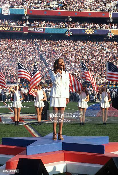 Vanessa Williams preforms the National Anthem prior to the start of Super Bowl XXX between the Dallas Cowboys and Pittsburgh Steelers on January 28...