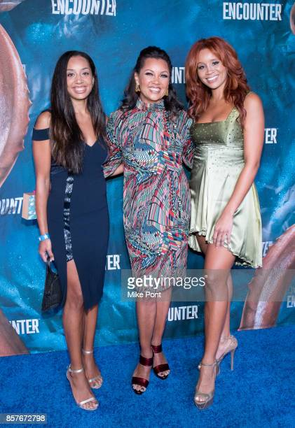 Vanessa Williams with daughters Melanie Hervey and Jillian Hervey attend the National Geographic Encounter Blue Carpet VIP Preview Celebration on...