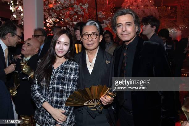 Vanessa Yang Kenzo Takada and Alexandre Zouari attend the 80th Kenzo Takada Birthday Party at Pavillon Ledoyen on February 28 2019 in Paris France