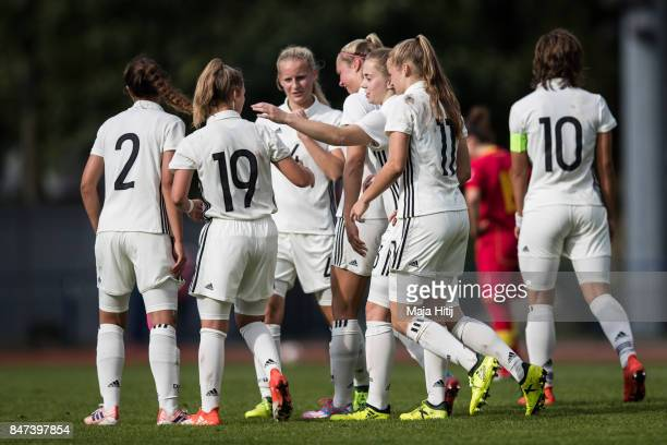 Vanessa Ziegler of Germany celebrates with her team mates after scoring second goal to make it 20 during U19 Women's Germany and U19 Women's...