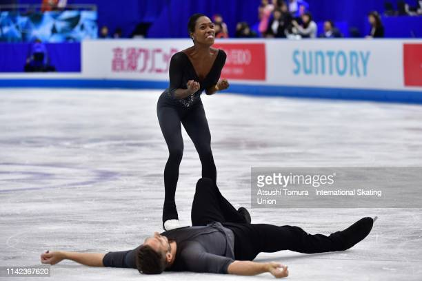 Vanessa James and Morgan Cipres of France celebrate after competing in the Pair Free Skating on day three of the ISU Team Trophy at Marine Messe...