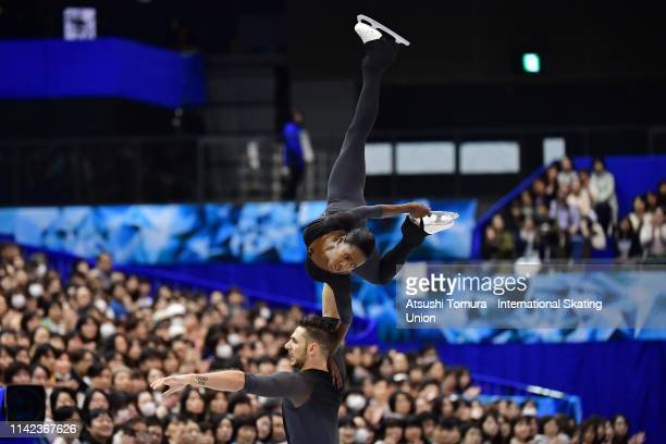 Vanessa James and Morgan Cipres of France compete in the Pair Free Skating on day three of the ISU Team Trophy at Marine Messe Fukuoka on April 13...