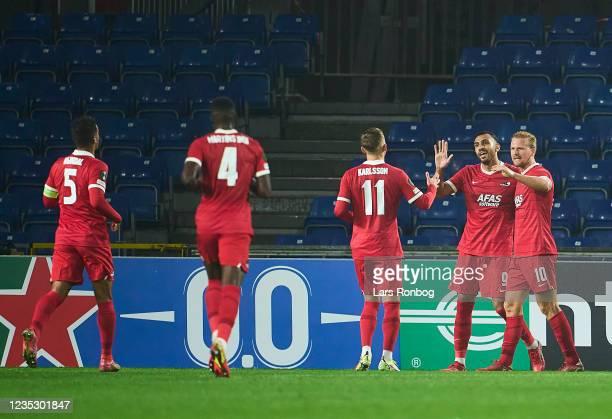Vangelis Pavlidis of AZ Alkmaar celebrates after scoring their second goal during the UEFA Conference League match between Randers FC and AZ Alkmaar...