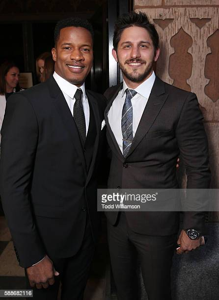 Vanguard Award recipient Nate Parker and CAA's Franklin Latt attend Sundance Institute NIGHT BEFORE NEXT at The Theatre At The Ace Hotel on August 11...