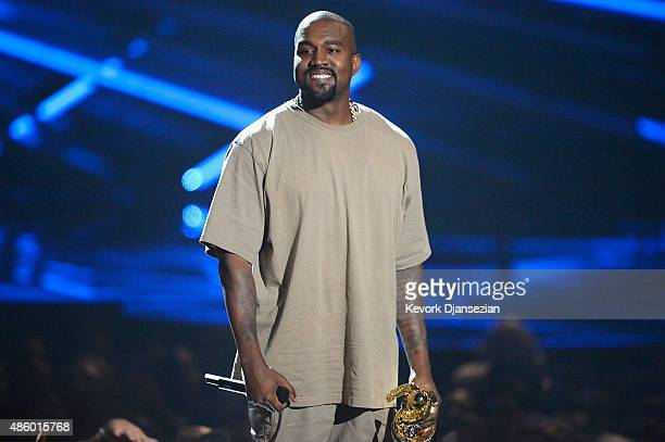 Vanguard Award winner Kanye West speaks onstage during the 2015 MTV Video Music Awards at Microsoft Theater on August 30 2015 in Los Angeles...
