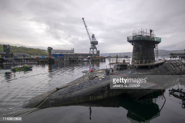 Vanguardclass submarine HMS Vigilant one of the UK's four nuclear warheadcarrying submarines at HM Naval Base Clyde Faslane west of Glasgow Scotland...