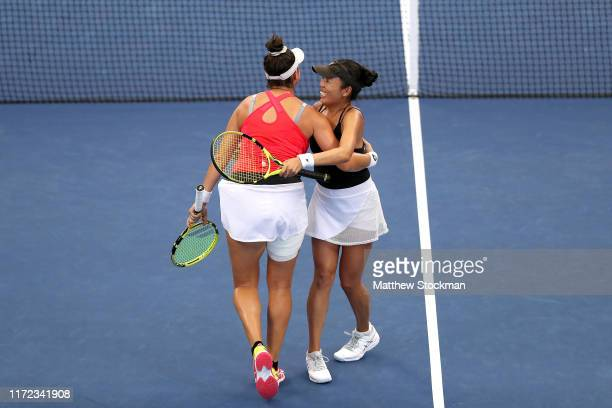 Vania King and Caroline Dolehide of the United States celebrates after defeating Jelena Ostapenko of Latvia and Lyudmyla Kichenok of the Ukraine...