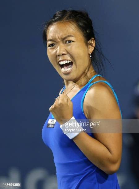Vania King celebrates after winning the second set of her match against Marion Bartoli of France during day five of the Mercury Insurance Open...