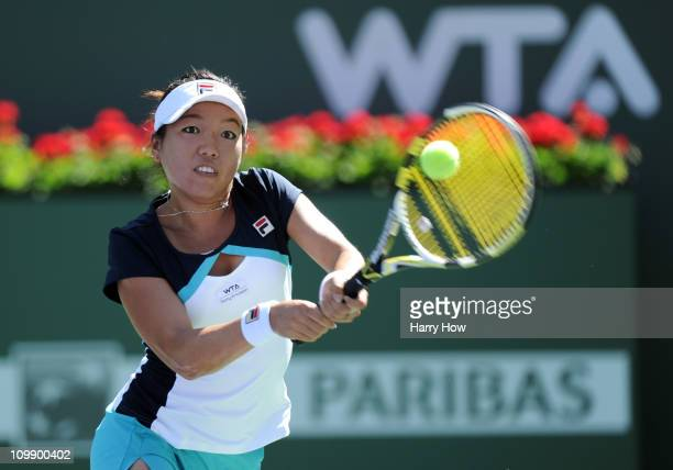 Vania King hits a backhand in her match against Gisela Dulko of Argentina during the BNP Paribas Open at the Indian Wells Tennis Garden on March 9,...