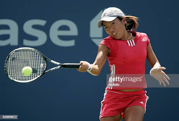 Vania King hits a shot to Nathalie Dechy of France during the second round of the US Open at the USTA National Tennis Center in Flushing Meadows...