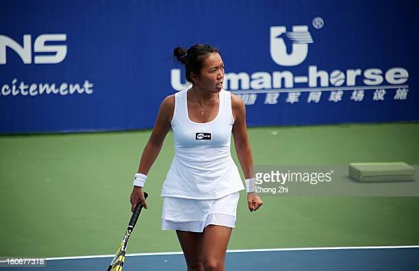 Vania King in action vs Chinese Taipei Yung Jan Chan during WTA Guangzhou Open Qualifying second round on September 15 2013 in Guangzhou China