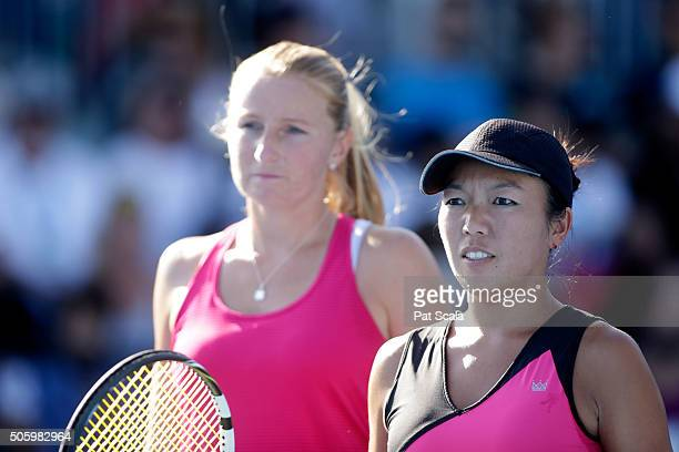 Vania King of the United States and Alla Kudryavtseva of Russia compete in their first round match against ChinWei Chan of Chinese Taipei and Kurumi...